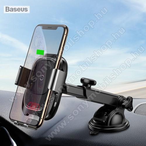 BASEUS univerzális autós / gépkocsi tartó - tapadókorongos, szélvédőre vagy műszerfalra rögzíthető, infravörös érzékelő automatikusan nyit és zár - QI wireless vezetéknélküli funkció, bemenet 5V/2A, 9V/1.67A, fogadóegység nélkül! - FEKETE - GYÁRI