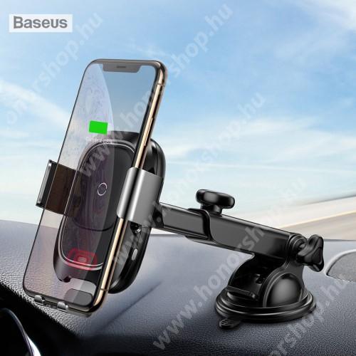 HUAWEI Honor 3C Play BASEUS univerzális autós / gépkocsi tartó - tapadókorongos, szélvédőre vagy műszerfalra rögzíthető, infravörös érzékelő automatikusan nyit és zár - QI wireless vezetéknélküli funkció, bemenet 5V/2A, 9V/1.67A, fogadóegység nélkül! - FEKETE - GYÁRI
