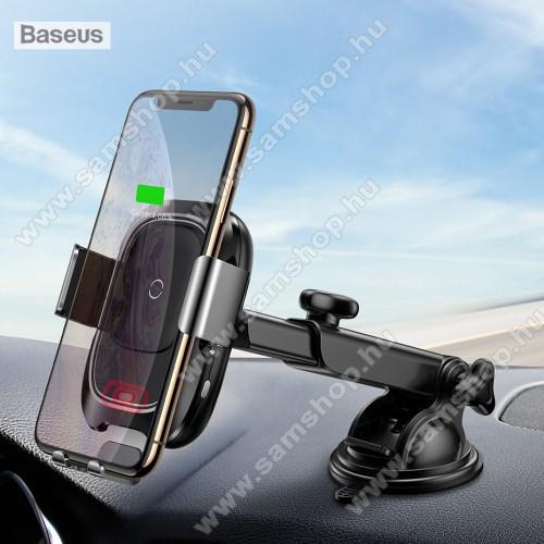 SAMSUNG Galaxy S Giorgio Armani (GT-I9010)BASEUS univerzális autós / gépkocsi tartó - tapadókorongos, szélvédőre vagy műszerfalra rögzíthető, infravörös érzékelő automatikusan nyit és zár - QI wireless vezetéknélküli funkció, bemenet 5V/2A, 9V/1.67A, fogadóegység nélkül! - FEKETE - GYÁRI