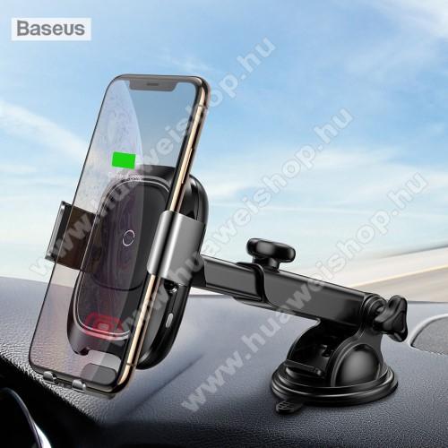 HUAWEI Honor Play 3BASEUS univerzális autós / gépkocsi tartó - tapadókorongos, szélvédőre vagy műszerfalra rögzíthető, infravörös érzékelő automatikusan nyit és zár - QI wireless vezetéknélküli funkció, bemenet 5V/2A, 9V/1.67A, fogadóegység nélkül! - FEKETE - GYÁRI