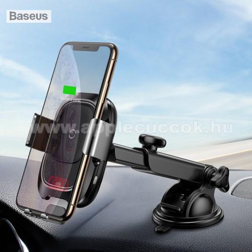 BASEUS univerzális autós / gépkocsi tartó - tapadókorongos, szélvédőre vagy műszerfalra rögzíthető, infravörös érzékelő automatikusan nyit és zár - 10W-os töltési sebesség, QI wireless vezetéknélküli funkció, bemenet 5V/2A, 9V/1.67A, fogadóegység nélkül!