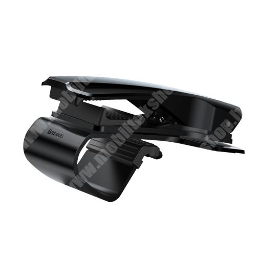 Doogee S50 BASEUS univerzális gépkocsi / autós tartó - FEKETE - műszerfalra rögzíthető, max.  85mm-es befogó csipesszel, 360°-ban elforgatható - GYÁRI