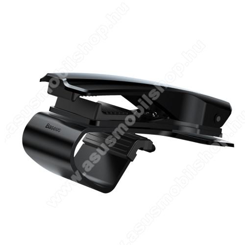 BASEUS univerzális gépkocsi / autós tartó - FEKETE - műszerfalra rögzíthető, max.  85mm-es befogó csipesszel, 360°-ban elforgatható - GYÁRI