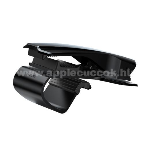APPLE iPhone XBASEUS univerzális gépkocsi / autós tartó - FEKETE - műszerfalra rögzíthető, max.  85mm-es befogó csipesszel, 360°-ban elforgatható - GYÁRI