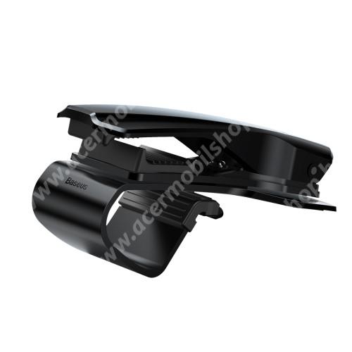 ACER Liquid E2 BASEUS univerzális gépkocsi / autós tartó - FEKETE - műszerfalra rögzíthető, max.  85mm-es befogó csipesszel, 360°-ban elforgatható - GYÁRI