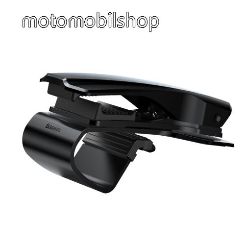 MOTOROLA Wilder (EX130) BASEUS univerzális gépkocsi / autós tartó - FEKETE - műszerfalra rögzíthető, max.  85mm-es befogó csipesszel, 360°-ban elforgatható - GYÁRI