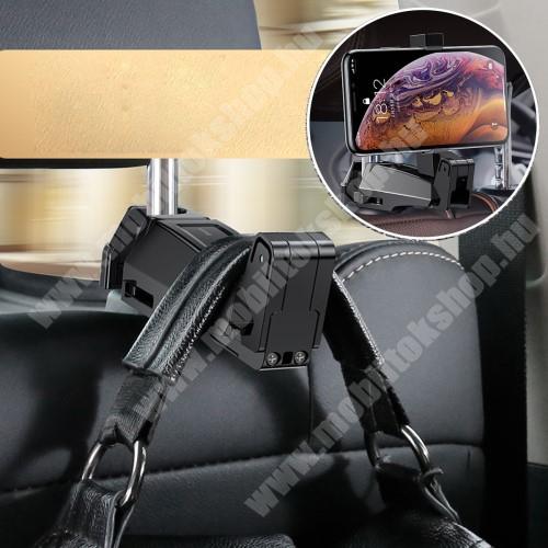 """ALCATEL Flash (2017) BASEUS UNIVERZÁLIS gépkocsi / autós tartó - 64-90mm-ig állítható bölcső, 4-6.5""""-os készülékekig, elforgatható, fejtámlára szerelhető, kampó 25kg terhelésig max! - FEKETE"""