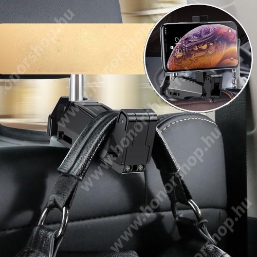 """HUAWEI Honor V40 5G BASEUS UNIVERZÁLIS gépkocsi / autós tartó - 64-90mm-ig állítható bölcső, 4-6.5""""-os készülékekig, elforgatható, fejtámlára szerelhető, kampó 25kg terhelésig max! - FEKETE"""