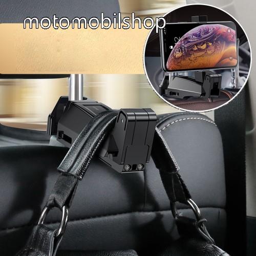 """BASEUS UNIVERZÁLIS gépkocsi / autós tartó - 64-90mm-ig állítható bölcső, 4-6.5""""-os készülékekig, elforgatható, fejtámlára szerelhető, kampó 25kg terhelésig max! - FEKETE"""
