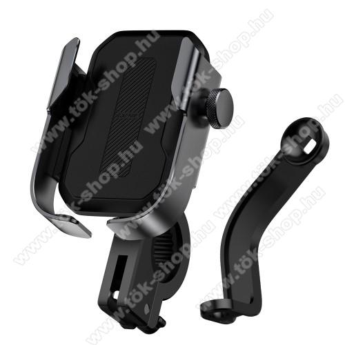 BASEUS UNIVERZÁLIS motoros / kerékpáros tartó konzol mobiltelefon készülékekhez - FEKETE - 360°-ban elforgatható, kormányra vagy visszapillantó tükör alá rögzíthető, 4,7-6,5