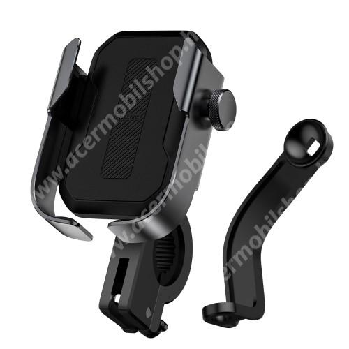 """ACER Liquid Jade (S55)BASEUS UNIVERZÁLIS motoros / kerékpáros tartó konzol mobiltelefon készülékekhez - FEKETE - 360°-ban elforgatható, kormányra vagy visszapillantó tükör alá rögzíthető, 4,7-6,5""""-os készülékekhez ajánlott - GYÁRI"""