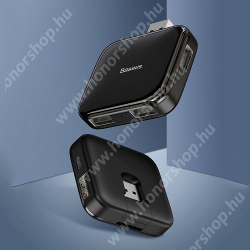 HUAWEI Honor V40 5G BASEUS USB elosztó - 5 portos 4db USB 2.0 HUB + 1db microUSB port, átviteli sebesség 480Mbps, microUSB kimente 5V / 4TB-ig - FEKETE - GYÁRI