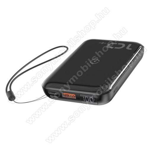 BASEUS vésztöltő töltő / hordozható töltő / QI Wireless hálózati töltő állomás - 10000mAh, 18W (max), QI 10W(max), fogadóegység nélkül!, MicroUSB bemenet, Type-C be/kimenet 5V/3A; 9V/2A; 12V/1,5A, USB kimenet 5V/3A; 9V/2A; 12V/1,5A - FEKETE - GYÁRI