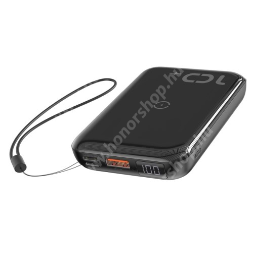 HUAWEI Honor 3C Play BASEUS vésztöltő töltő / hordozható töltő / QI Wireless hálózati töltő állomás - 10000mAh, 18W (max), QI 10W(max), fogadóegység nélkül!, MicroUSB bemenet, Type-C be/kimenet 5V/3A; 9V/2A; 12V/1,5A, USB kimenet 5V/3A; 9V/2A; 12V/1,5A - FEKETE - GYÁRI