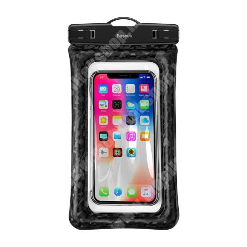 APPLE iPhone X BASEUS vízhatlan / vízálló tok, AQUA - 30 méterig, IPX8, nyakpánt, légpárnás sarkok fent marad a vízen! - 210 x 110mm - FEKETE