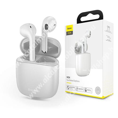 BASEUS W04 TWS SZTEREO BLUETOOTH HEADSET - v5.0, érintéssel vezérelhező, mikrofon, zajszűrő, töltőtok, 5 óra zenehallgatási idő, Type-C töltőaljzat - FEHÉR - GYÁRI