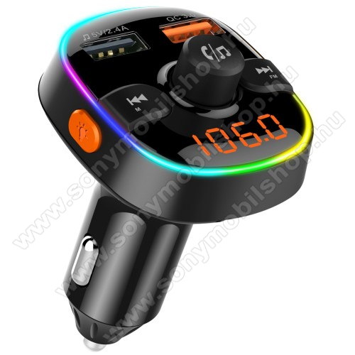 SONY Xperia E4g Dual (E2033 / E2043)BC52 BLUETOOTH kihangosító szett - szivartöltőbe tehető, Bluetooth v.5.0+EDR, FM transmitterrel csatlakozik autórádióra, microSD kártya foglalat, EXTRA USB töltő aljzatok, 1 x 5V/2.4A (max), 1 x QC3.0 3.5V-6.5V / 3A, 6.5-9V / 2A, 9V-12V / 1.5A - FEKETE