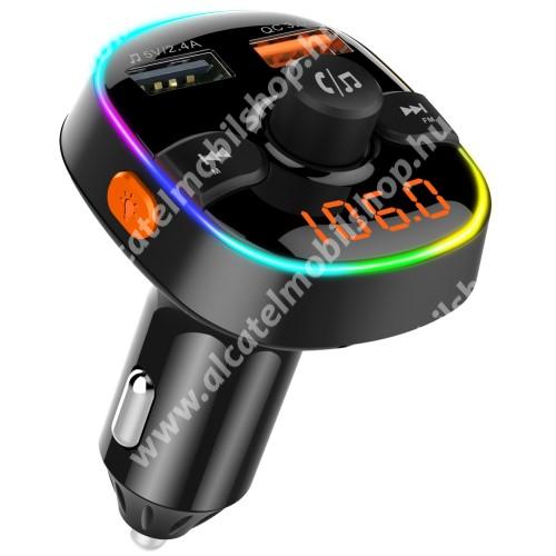 BC52 BLUETOOTH kihangosító szett - szivartöltőbe tehető, Bluetooth v.5.0+EDR, FM transmitterrel csatlakozik autórádióra, microSD kártya foglalat, EXTRA USB töltő aljzatok, 1 x 5V/2.4A (max), 1 x QC3.0 3.5V-6.5V / 3A, 6.5-9V / 2A, 9V-12V / 1.5A - FEKETE