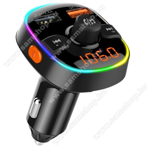 SAMSUNG SGH-U900 SoulBC52 BLUETOOTH kihangosító szett - szivartöltőbe tehető, Bluetooth v.5.0+EDR, FM transmitterrel csatlakozik autórádióra, microSD kártya foglalat, EXTRA USB töltő aljzatok, 1 x 5V/2.4A (max), 1 x QC3.0 3.5V-6.5V / 3A, 6.5-9V / 2A, 9V-12V / 1.5A - FEKETE