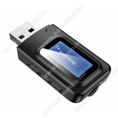Bluetooth audio transmitter 2 az 1-ben LCD kijelzővel - adó és vevő is!, 3,5mm jack csatlakozó, V5.0,  62 x 25 x 13 mm - FEKETE