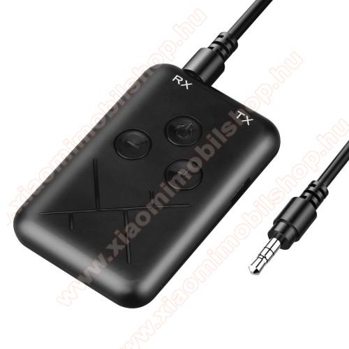 Bluetooth audio transmitter 2 az 1-ben - adó és vevő is!, 3,5mm jack csatlakozó, V4.2+A2DP, AVRCP - FEKETE - 62 x 40 x 10mm