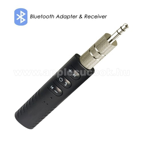 Bluetooth audio vevő adapter - V4.1, 3,5mm jack csatlakozóba illeszthető, 60mAh beépített akkumulátor  - FEKETE