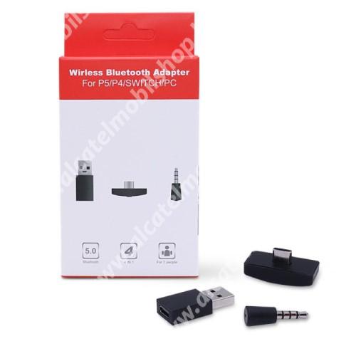 Bluetooth audio vevő adapter - V5.0, mikrofon, 3.5mm jack csatlakozóba illeszthető, Type-C-s vevő USB átalakítóval - FEKETE