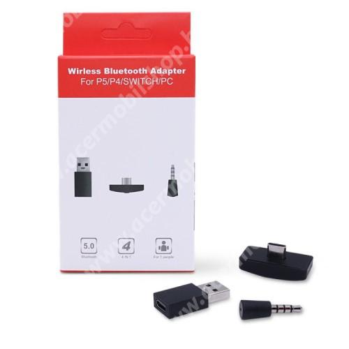 ACER Liquid Z3 Bluetooth audio vevő adapter - V5.0, mikrofon, 3.5mm jack csatlakozóba illeszthető, Type-C-s vevő USB átalakítóval - FEKETE