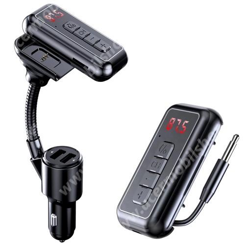 BLUETOOTH kihangosító szett / Bluetooth vevő AUX adapter - V5.0 + EDR, szivartöltőbe tehető, AUX, TF kártyaolvasó max 32gb, beépített 250mAh akkumulátor, FM transmitterrel csatlakozik autórádióra, EXTRA USB töltő aljzatok, 5V 2.1A / 5V 1A - FEKETE