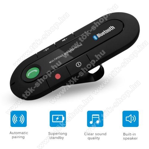 BLUETOOTH kihangosító szett - napellenzőre rögzíthető, hordozható, Bluetooth V4.1+EDR, beépített mikrofon, 650mAh akkumulátor, egyszerre 2 különböző telefonnal használható! - FEKETE