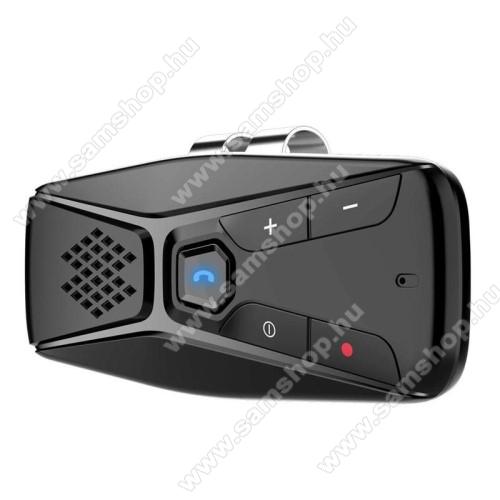 BLUETOOTH kihangosító szett - napellenzőre rögzíthető, hordozható, Bluetooth V5.0+EDR, beépített mikrofon, 500mAh akkumulátor, 20óra használati idő, automatikus csatlakozás, egyszerre 2 különböző telefonnal használható! - FEKETE