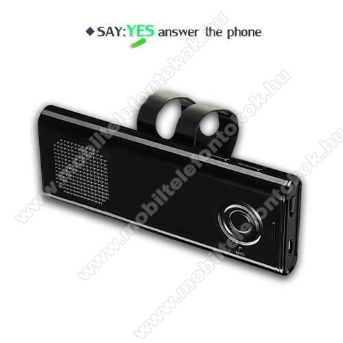 BLUETOOTH kihangosító szett szivargyújtós töltővel - napellenzőre rögzíthető, hordozható, Bluetooth V4.1+EDR, beépített mikrofon, 650mAh akkumulátor, egyszerre 2 különböző telefonnal használható! - FEKETE - 130 x 50 x 15mm