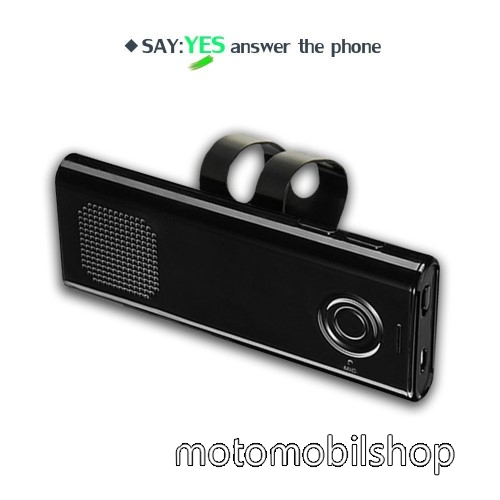 MOTOROLA Defy Mini (XT320) BLUETOOTH kihangosító szett szivargyújtós töltővel - napellenzőre rögzíthető, hordozható, Bluetooth V4.1+EDR, beépített mikrofon, 650mAh akkumulátor, egyszerre 2 különböző telefonnal használható! - FEKETE - 130 x 50 x 15mm
