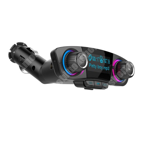 ALCATEL A30 BLUETOOTH kihangosító szett - szivartöltőbe tehető, FM transmitterrel csatlakozik autórádióra, LED kijelző, EXTRA USB töltő aljzat, memóriakártya olvasó, 3,5mm jack alzat - FEKETE