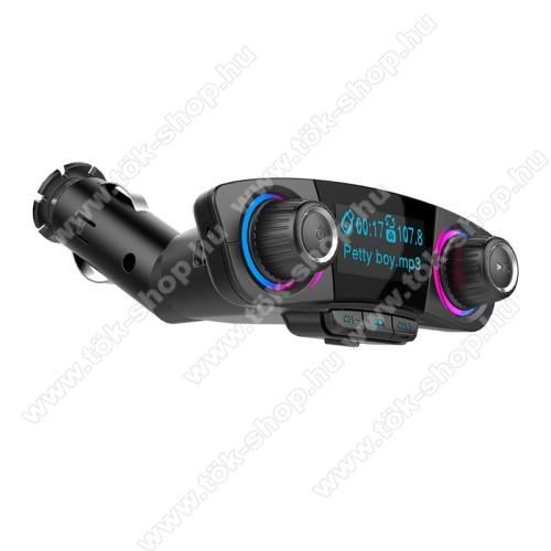 BLUETOOTH kihangosító szett - szivartöltőbe tehető, FM transmitterrel csatlakozik autórádióra, LED kijelző, EXTRA USB töltő aljzat, memóriakártya olvasó, 3,5mm jack alzat - FEKETE