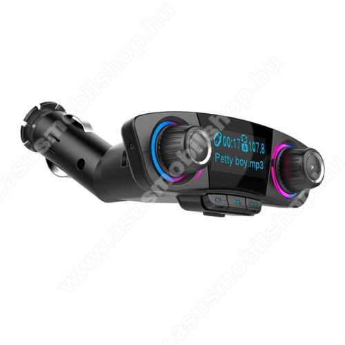 ASUS Memo Pad 7 ME572CBLUETOOTH kihangosító szett - szivartöltőbe tehető, FM transmitterrel csatlakozik autórádióra, LED kijelző, EXTRA USB töltő aljzat, memóriakártya olvasó, 3,5mm jack alzat - FEKETE