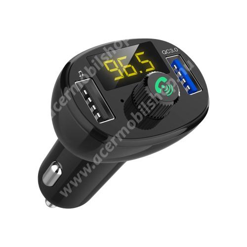 BLUETOOTH kihangosító szett - szivartöltőbe tehető, FM transmitterrel csatlakozik autórádióra, EXTRA USB töltő aljzatok, 5V/3.4A (max), QC3.0 3.5V-6.5V / 3A, 6.5-9V / 2A, 9V-12V / 1.5A - FEKETE