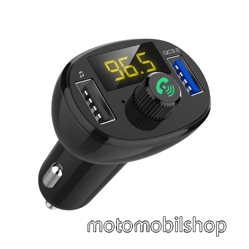 MOTOROLA MPX100 BLUETOOTH kihangosító szett - szivartöltőbe tehető, FM transmitterrel csatlakozik autórádióra, EXTRA USB töltő aljzatok, 5V/3.4A (max), QC3.0 3.5V-6.5V / 3A, 6.5-9V / 2A, 9V-12V / 1.5A - FEKETE