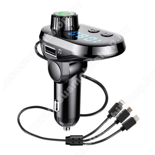 ASUS Zenfone 2 Laser (ZE500KL)BLUETOOTH kihangosító szett - V5.0, szivartöltőbe tehető, DSP zajszűrő, FM transmitterrel csatlakozik autórádióra, beépített mikrofon, LED kijelző, kártyaolvasó (SD/TF), 3.1A beépített töltőkábel (Type-C, Lightning, microUSB) - FEKETE