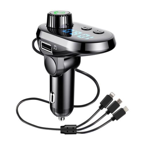 BLUETOOTH kihangosító szett - V5.0, szivartöltőbe tehető, DSP zajszűrő, FM transmitterrel csatlakozik autórádióra, beépített mikrofon, LED kijelző, kártyaolvasó (SD/TF), 3.1A beépített töltőkábel (Type-C, Lightning, microUSB) - FEKETE