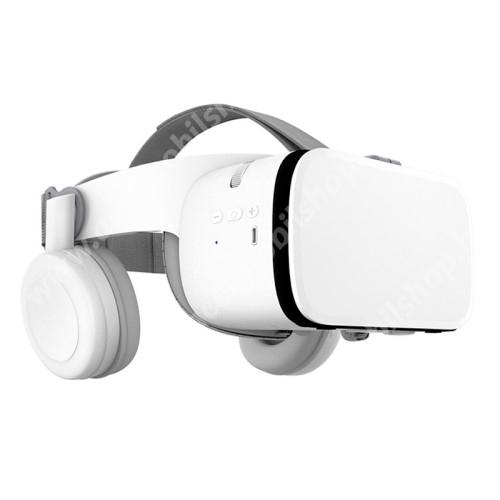 BOBOVR Z6 videoszemüveg - VR 3D, filmnézéshez ideális, FOV max. 110°, V4.2 + EDR, 52 mm-es nagy látószögű lencse, 165 x 83mm telefon befogadó keret, bluetooth-os fejhallgatóval, CSAK GIROSZKÓPPAL ELLÁTOTT OKOSTELEFONOKKAL MŰKÖDIK - FEHÉR