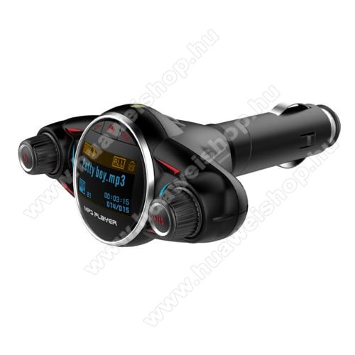 HUAWEI Mate 10BT-08 BLUETOOTH kihangosító szett - V4.0, szivargyújtó töltő aljzatba tehető, digitális kijelző, FM transmitterrel csatlakozik autórádióra, EXTRA USB töltő aljzat, 5V/2.1A - FEKETE