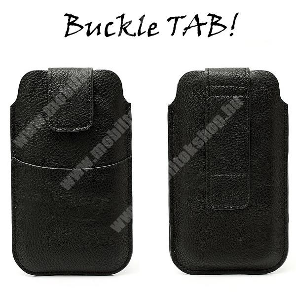 Buckle TAB! bőrtok - álló, tépőzár, övre fűzhető, külső zseb - XXL méret - FEKETE