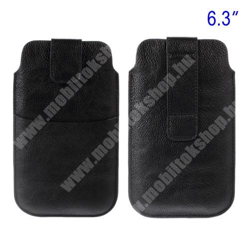 OnePlus 6 Buckle TAB! bőrtok - álló, tépőzár, övre fűzhető, külső zseb - 178 x 105 mm - FEKETE