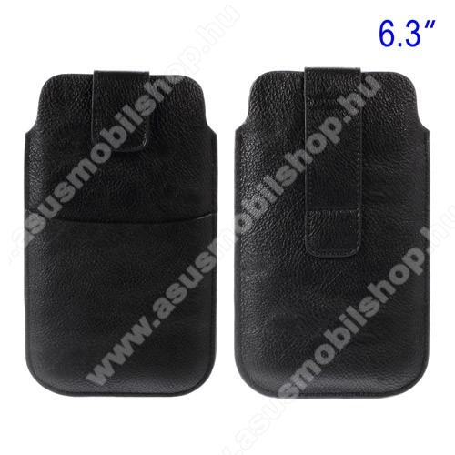 ASUS Fonepad Note FHD6Buckle TAB! bőrtok - álló, tépőzár, övre fűzhető, külső zseb - 178 x 105 mm - FEKETE