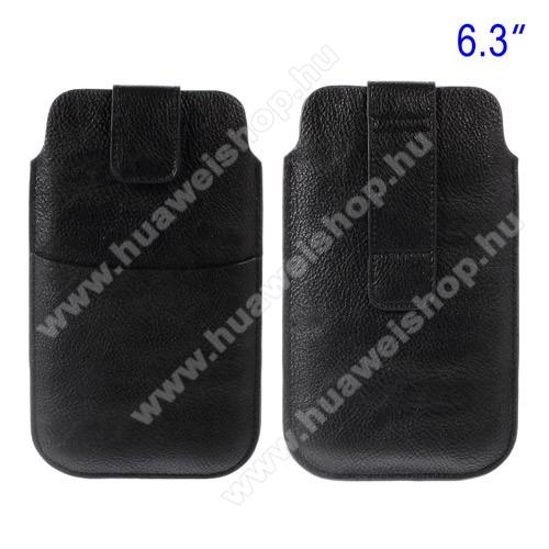 HUAWEI Honor 20 ProBuckle TAB! bőrtok - álló, tépőzár, övre fűzhető, külső zseb - 178 x 105 mm - FEKETE
