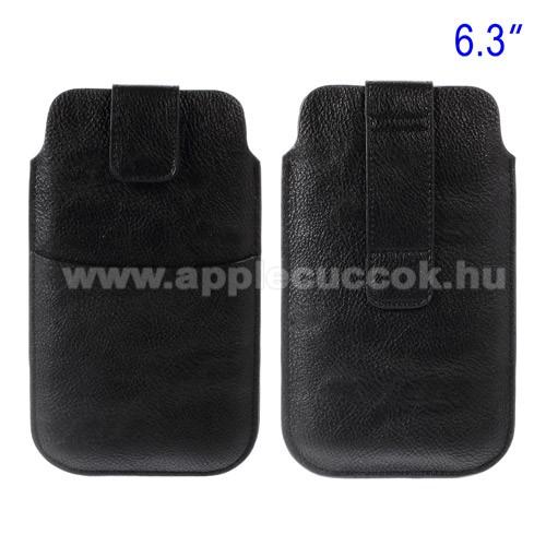 APPLE iPhone 6 PlusBuckle TAB! bőrtok - álló, tépőzár, övre fűzhető, külső zseb - 178 x 105 mm - FEKETE