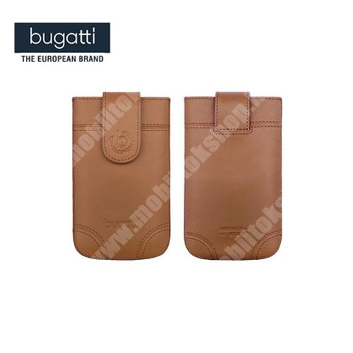 BUGATTI SLIMCASE DUBLIN álló bőrtok - 08313 - kihúzó pánt, patentos - SL méret - BARNA - GYÁRI