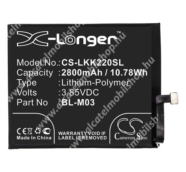 CAMERON SINO akku 2800 mAh LI-Polymer - belső akku, beépítése szakértelmet igényel, BL-M03 kompatibilis - CS-LKK220SL - LG K22 (LMK200HM) - GYÁRI