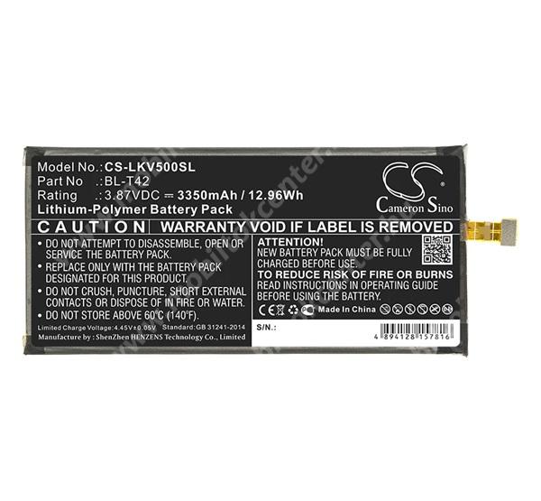 CAMERON SINO akku 3350 mAh LI-Polymer - belső akku, beépítése szakértelmet igényel, BL-T42 kompatibilis - LG V50 ThinQ 5G - CS-LKV500SL - GYÁRI